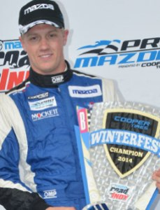 Spencer Pigot with his Cooper Tires Winterfest Championship trophy. Photo Credit: IndyCar Media
