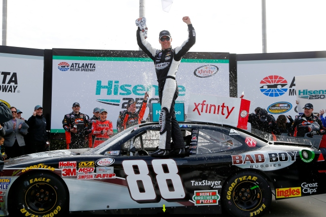 Kevin Harvick celebrates in Victory Lane after winning the Hisense 250 at Atlanta Motor Speedway. Photo: Jerry Markland/Getty Images